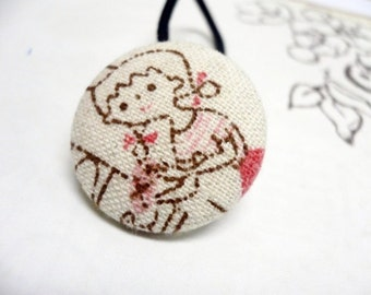 Fabric Covered Button Ponytail Holder - Retro Girl