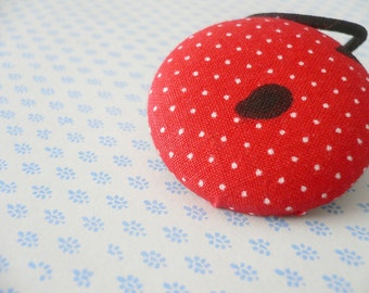 Fabric Covered Button Ponytail Holder - Watermelon