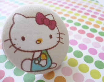Fabric Covered Button Ponytail Holder - Hello Kitty