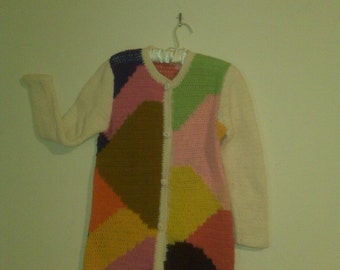 SPECIAL SALE PRICE 25.00 - 70's French Rainbow Knit Cardigan for Neiman Marcus