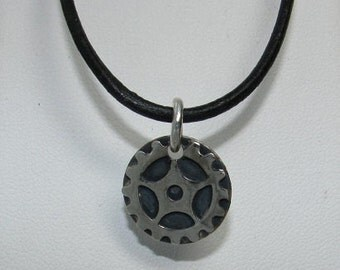 Sprocket pendant in sterling silver