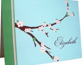 Personalied Custom Notecard Stationery Set - Branches Cherry Blossom Blue