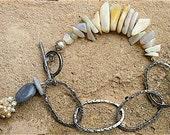 RESERVED for BARB-LOVEYOUMOM/Australian Black Opals Sterling Silver Bracelet