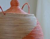 Vintage Handmade Orange Indian Basket with lid