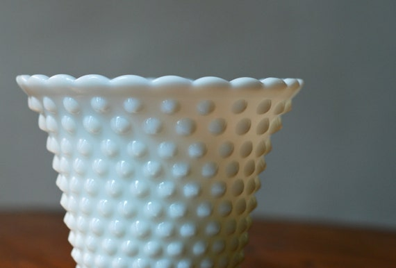 Vintage Hobnail White Glass Vase