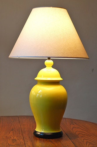 vintage modern yellow ginger jar table lamp. Black Bedroom Furniture Sets. Home Design Ideas