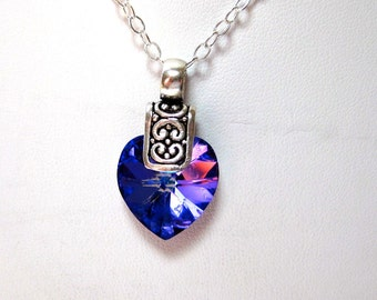 Sterling silver pendant necklace with purple Swarovski heart. Purple Heart necklace