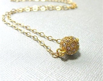 Gold Filled Chain Necklace with Crystal Pave Ball Magnetic Clasp