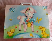Perfectly Cute Vintage Childs Pink Suitcase or Doll Case with Lamb and Bunnies
