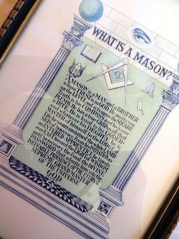 Vintage What is a Mason motto print, dated 1921, rare