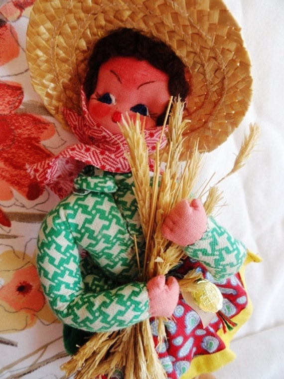 Vintage Maria Helena doll mascotes made in Portugal souvenir peasant with wheat