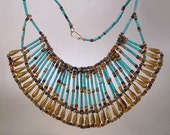 Egyptian Revival Faience Necklace Wide Turquoise Bib Collar Vintage 1940s Ethnic Jewelry
