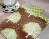 Macbook Sleeve, Macbook Case, Laptop Cover in Linen and Leaves
