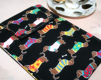 Kindle Case, Nook Simple Touch Sleeve, Nook Glolight, Kindle Sleeve, Nook Case, Ereader Sleeve, Cover in Dachshund Dogs