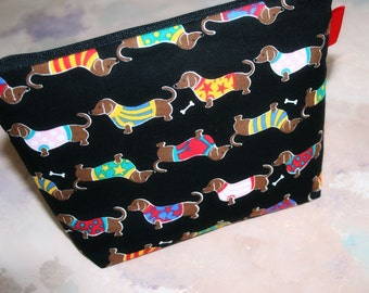 Zipper Top Bag / Cosmetic Bag / Charger Bag in Dachshunds