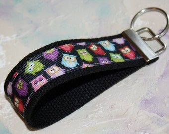 Fabric Wrist Key Chain, Key Fob Wristlet Keychain in Hoot Hoot Owls 2