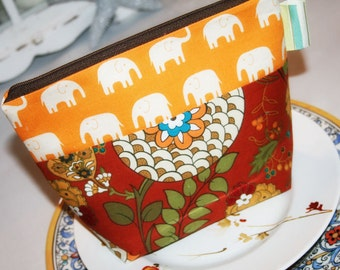 Cosmetic Bag, Zipper Top Pouch, Zipper makeup Bag in Elephants on Parade