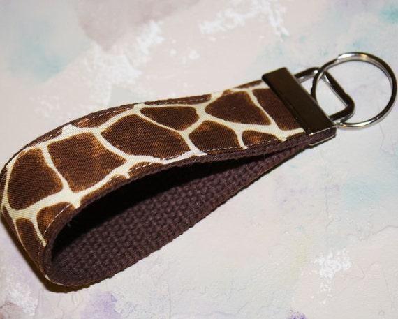 Wrist Key Chain , Key Fob Wristlet Keychain, key ring, Fabric Key Holder in Giraffe Print on Brown