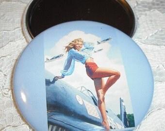 Vintage Pin-up Girl Pocket Mirror