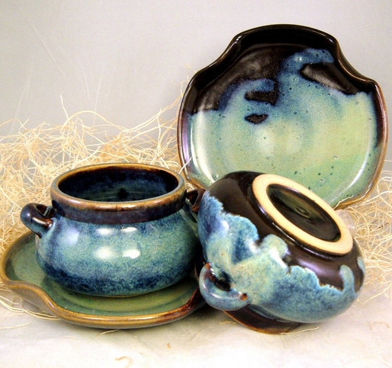 Soup 'n Sandwich Set in Turquoise on Brown - 2 sets