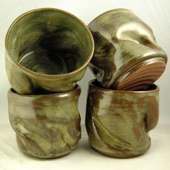 Set of 4 Stoneware Tumblers -  dark green