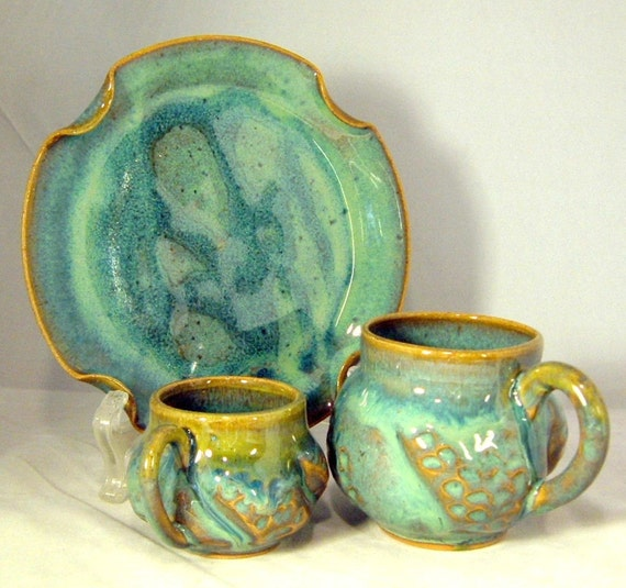 Espresso Cup, Tea Cup, Pie Plate Set in Turquoise Swirl