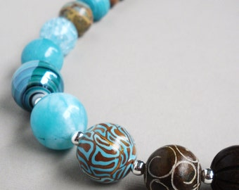 Blue Jade Wood Jasper Gemstone Beaded - Pacific Coast Handmade Necklace