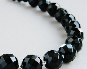 Black Faceted Onyx Jade Beaded - Friday Night Handmade Necklace