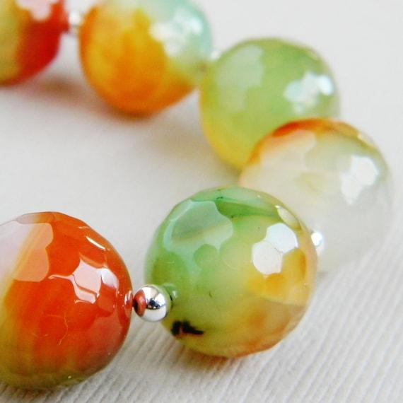 Orange Green Faceted Agate Beaded - Sherbert Handmade Bracelet