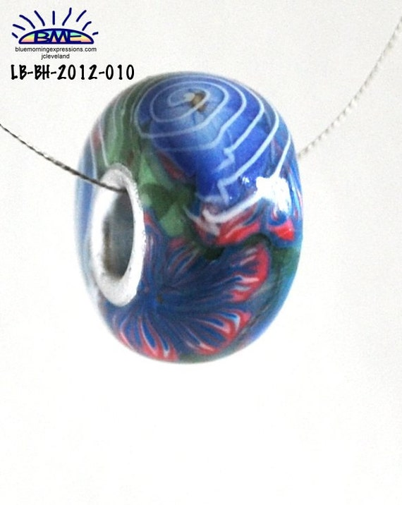 Euro Style Bead Red White Blue Flower Large Hole Handmade Polymer Clay
