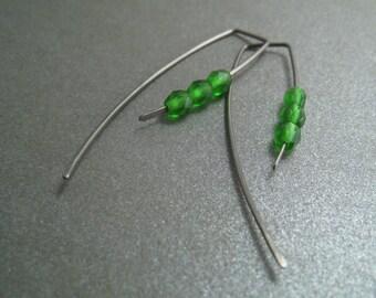 Niobium Dangle Hook Earrings - Apple Green Glass Beads - Hypoallergenic - Simple Modern Minimal Beaded Wire Jewelry