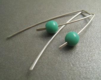 Sterling Silver Dangle Hook Earrings - Turquoise Glass Beads - Modern Minimal Simple Beaded Wire Jewelry