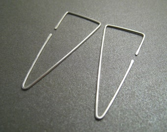 Sterling Silver Hoop Earrings - Fangs - Hammered - Thin and Dainty - Simple Modern Minimal Wire Jewelry