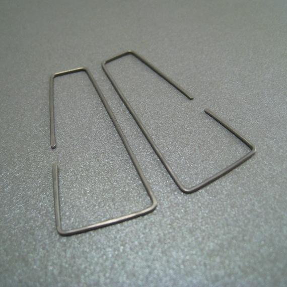 Niobium Hoop Earrings - Flares - Hammered - Thin and Dainty - Hypoallergenic - Simple Modern Minimal Wire Jewelry