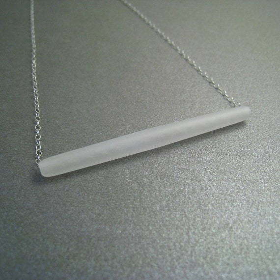 Sterling Silver Necklace - Frosted Lucite Bead Pendant - Simple Modern Minimal Necklace