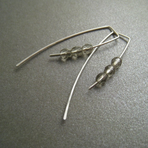 Sterling Silver Earrings - Faceted Grey Glass Beads - Simple Modern Minimal Beaded Earrings