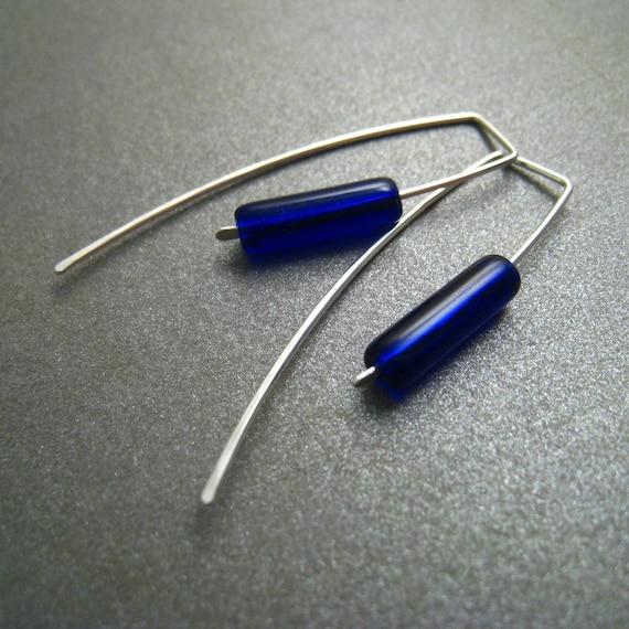 Sterling Silver Earrings - Cobalt Blue Glass Tube Beads - Simple Modern Minimal Beaded Earrings