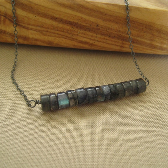 Oxidized Sterling Silver Necklace - Blue Labradorite Beaded Pendant - Simple Modern Minimal Necklace
