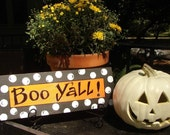 Hand Painted Halloween Sign Boo Yall Orange and Black