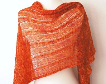 PDF Knitting Pattern / Orange Marmalade Wrap