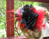 Fascinator Burlesque Pin-up Rock-a-billy Black Roses with Red and Black Feathers