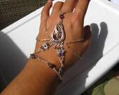 Slave Bracelet Hand Adornment inTanzanite Purple Swarovski Crystals, Belly Dance, Weddings, Mid-evil