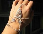 Slave Bracelet Hand Adornment in Clear Swarovski Crystals, Belly Dance, Weddings, Mid Evil