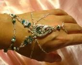 Slave Bracelet Hand Adornment in Teal Blue Zircon Swarovski Crystals, Belly Dance, Weddings, Mid Evil