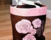 Brown and Pink Rose Oval Fabric Basket