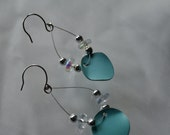 Turquoise colored earrings-hoop/dangle style-metal circles with accent beads-summer fun