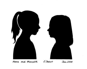 Special listing of TWO Custom Silhouette Portraits facing the same way (not like in the images)