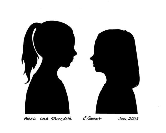 Custom Silhouette Portraits facing each other (not a print)