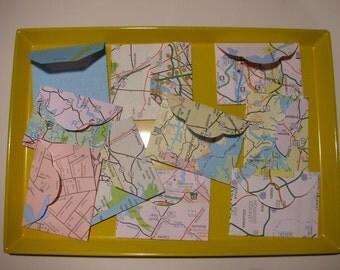 Mini Map Envelopes (Set of 6) Upcycled Maps - Tiny Envelopes - Fun Stationery - Kids - Teachers