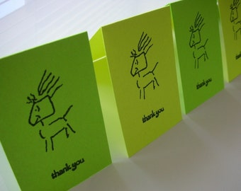 8 Thank You Mini Cards - Cave Man - Dog - Gift Cards - Stationery - Kids Cards - Home and Living